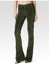Paige High Rise Lou Lou Flare - Faded Moss Velvet