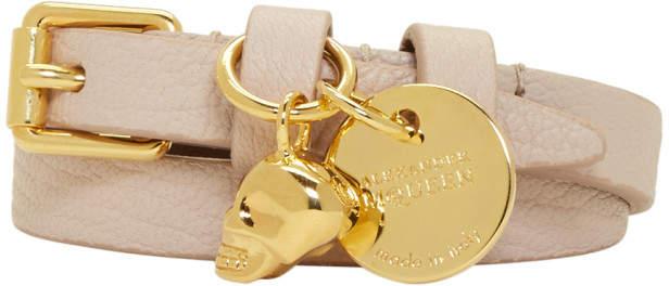 Alexander McQueen Pink and Gold Skull Double Wrap Bracelet