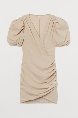 H&M Puff-sleeved Wrap Dress