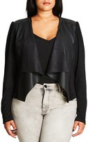 City Chic Plus Size Women's Faux Leather & Knit Drape Front Cardigan