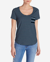 Eddie Bauer Women's Gypsum Pocket T-Shirt - Mini Stripe