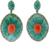 SILVIA FURMANOVICH Red Coral And Green Dumortierite Earrings