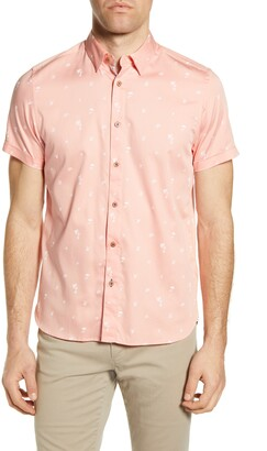 Ted Baker Slim Fit Tropical Print Short Sleeve Button-Up Shirt