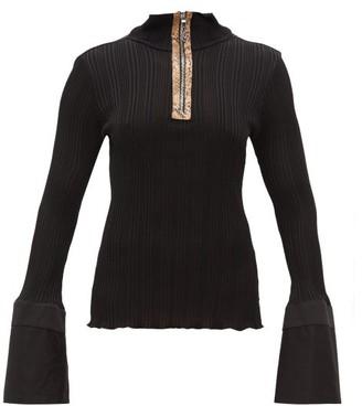 Ellery Arcade Fluted-cuff Zipped Top - Black