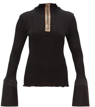 Ellery Arcade Fluted Cuff Zipped Top - Womens - Black