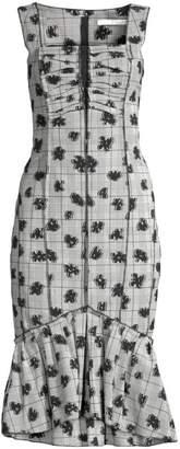 Jason Wu Collection Floral Plaid Stretch Ruffle Hem Bodycon Dress
