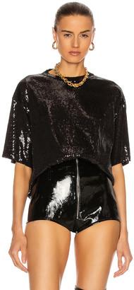 David Koma Oversized Sequin T-Shirt in Black   FWRD