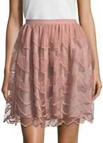 RED Valentino Women's Silk Mesh Paneled Flared Skirt