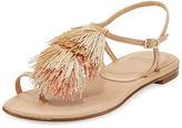 Stuart Weitzman Jabow Tassel Flat Thong Sandal
