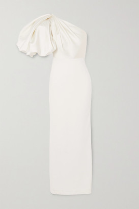 SOLACE London Acacia One-shoulder Gathered Crepe And Twill Maxi Dress - White