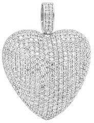 Ladies Large Pave Heart Charm Round Diamond Pendant 10ctw in 14k Gold with Cable Chain by Luxurman