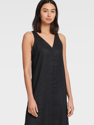 DKNY Women's V-neck Maxi Dress - Black - Size S