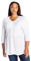 Melissa McCarthy Women's Plus Size V Neck Dolman Sleeve Peplum Top