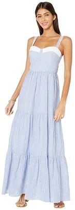 Lilly Pulitzer Jasmyn Tiered Maxi Dress (Coastal Blue Lightweight Oxford Stripe) Women's Dress