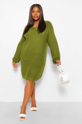 boohoo Plus Rib V Neck Sweater Dress