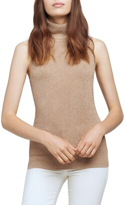 L'Agence Sabrina Metallic Sleeveless Turtleneck Sweater