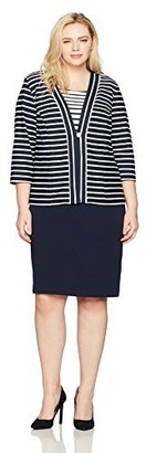 Danny And Nicole Danny & Nicole Women's Plus Size Two Piece 3/4 Sleeve Jacket and V-Neck Dress