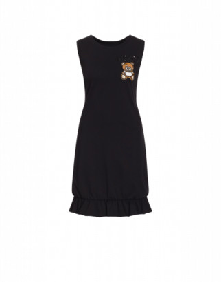 Moschino Jersey Dress Teddy Embroidery Woman Black Size 38 It - (4 Us)