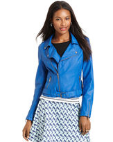 Bar III Front Row Jacket, Long-Sleeve Faux-Leather Quilted Motorcycle