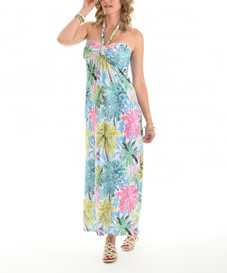 Shoreline Women's Casual Dresses BLUE - Blue & Pink Palm Tree Halter Maxi Dress - Women