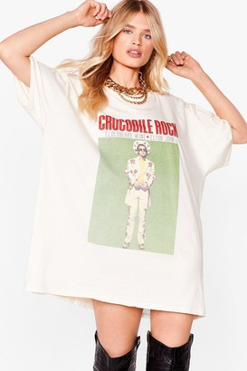 Nasty Gal Womens Crocodile Rock Graphic Band Tee Dress - Beige - S, Beige