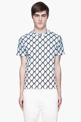 Raf Simons Blue gradient chain link print t-shirt