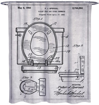 """Oliver Gal Toilet Seat 1956"""" Shower Curtain, 71""""x74"""""""
