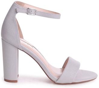 Linzi Nelly Grey Glitter Suede Suede Single Sole Block Heels