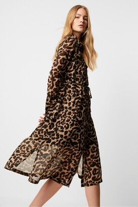French Connection Animal Georgette Midi Shirt Dress