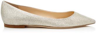 Jimmy Choo ROMY FLAT Platinum Ice Dusty Glitter Pointy Toe Flats