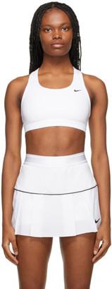 Nike White Unpadded Swoosh Sports Bra
