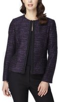 Tahari Beaded Bouclé Plaid Jacket