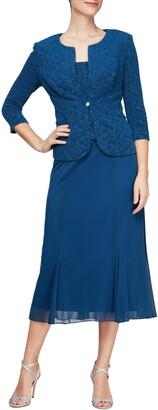 Alex Evenings Tea Length Mock Jacket Dress