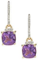 Fine Jewellery 14K Yellow Gold Amethyst Diamond Bar Earrings