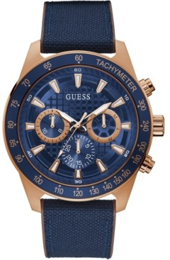 GUESS Men's Blue Silicone & Nylon Strap Watch 48mm