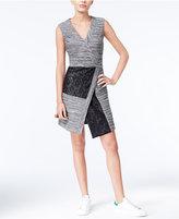 Rachel Roy Mixed-Media Faux-Wrap Dress, Only at Macy's