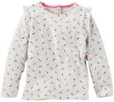 Osh Kosh Toddler Girl Ruffle Sleeve Feather Print Tee
