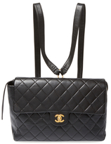 Chanel Vintage Black Quilted Lambskin Backpack Flap Jumbo