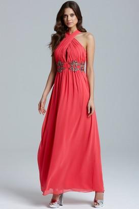 Little Mistress Coral Wrap Neck Leaf Embellished Maxi Dress