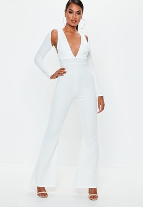 Missguided White Long Sleeve Cut Out Jumpsuit