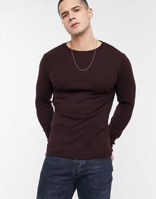 Burton Menswear long sleeve ribbed top in burgundy-Red