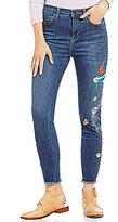 Free People Embroidered Bird Frayed Hem Jeans