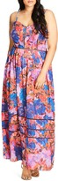 City Chic Stain-Glass Abstract Floral Print Maxi Dress