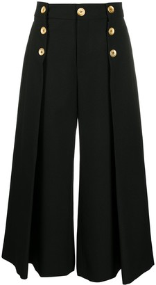 Ports 1961 Button-Detail Cropped Wide Leg Trousers