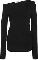 Oscar de la Renta Asymmetric Stretch-Knit Top