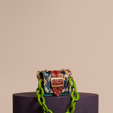 Burberry The Mini Square Buckle Bag in Snakeskin, Ostrich and Floral Print
