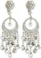 Jose & Maria Barrera Pearly & Crystal Round Filigree Dangle Earrings