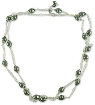 Novica Handmade Hematite Long Chain Necklace, 'Relating'