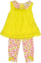 Yellow Floral Lace Swing Top & Leggings - Infant
