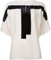 MS MIN contrast panel blouse - women - Cupro/Viscose - 4